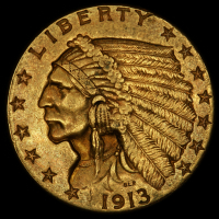 1913 $2.50 Indian Quarter Eagle Gold Coin at PristineAuction.com