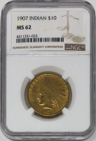 1907 $10 Ten Dollars Indian Head Eagle Gold Coin, No Motto (NGC MS 62) at PristineAuction.com