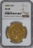 1858-S $20 Liberty Head Double Eagle Gold Coin (NGC AU 58)