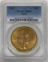 1907 $20 Saint-Gaudens Double Eagle Gold Coin (PCGS MS 63)