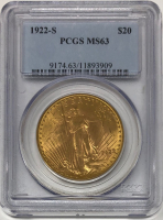 1922-S $20 Saint-Gaudens Double Eagle Gold Coin (PCGS MS 63) at PristineAuction.com
