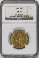 1889 $10 Liberty Head Gold Eagle (NGC MS 61) at PristineAuction.com