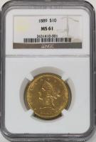 1889 $10 Liberty Head Gold Eagle (NGC MS 61)