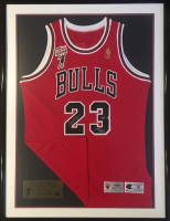 Michael Jordan Signed Bulls 34x50 Custom Framed Limited Edition Champion Jersey (UDA COA)
