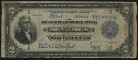 1918 $2 Two Dollars FRBN U.S. National Currency Large Bank Note - The Federal Reserve Bank of Minneapolis, Minnesota