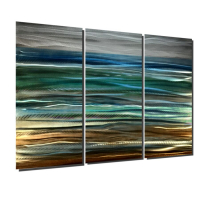 "Nicholas Yust Signed ""Sea Breeze"" 36x48x1 Original 3 Panel Metallic Art at PristineAuction.com"