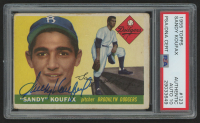 Sandy Koufax Signed 1955 Topps #123 RC (PSA Encapsulated & Auto Grade 10)