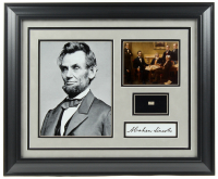 Abraham Lincoln 19.5x23.5 Custom Framed Cut Display with (1) Hand-Written Word from Letter (JSA LOA Copy)
