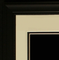 "Custom Frame for 11x14 Photo - Black Frame with White Double Matting (Overall Dimensions 20.5"" x 16.5"") at PristineAuction.com"