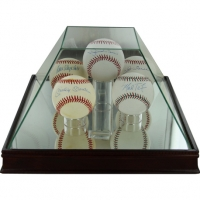 Premium Glass Pyramid 5 Ball Baseball Case with Mirrored Base (Steiner) at PristineAuction.com