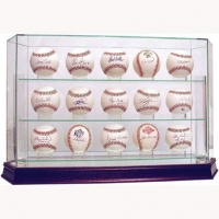 Premium Glass 15 Ball Baseball Case with Mirrored Base (Steiner) at PristineAuction.com