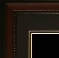 "Custom Frame for 11x14 Photo - Cherry Frame with Black Double Matting (Overall Dimensions 20.5"" x 16.5"") at PristineAuction.com"