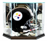 Premium Octagon Full-Size Helmet Display Case with Mirrored Back & Black Wood Base at PristineAuction.com