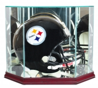 Premium Octagon Full-Size Helmet Display Case with Mirrored Back & Cherry Wood Base at PristineAuction.com