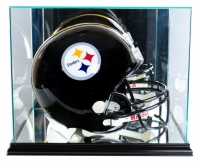 Premium Rectangle Full-Size Helmet Display Case with Mirrored Back & Black Wood Base at PristineAuction.com