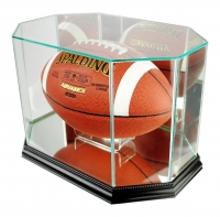 Premium Octagon Football Display Case with Mirrored Back & Black Wood Base at PristineAuction.com