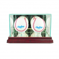 Premium Double Baseball Display Case with Mirrored Cherry Wood Base & Mirrored Back at PristineAuction.com