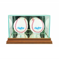 Premium Double Baseball Display Case with Mirrored Walnut Wood Base & Mirrored Back at PristineAuction.com