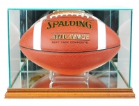 Premium Rectangle Football Display Case with Mirrored Back & Walnut Wood Base at PristineAuction.com