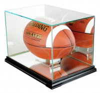 Premium Rectangle Football Display Case with Mirrored Back & Black Wood Base at PristineAuction.com