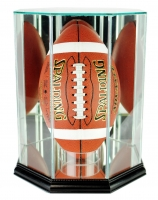 Premium Octagon Upright Football Display Case with Mirrored Back & Black Wood Base at PristineAuction.com