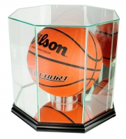 Premium Octagon Full-Size Basketball Display Case with Mirrored Back & Black Wood Base at PristineAuction.com