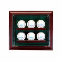 Premium 6 Baseball Cabinet Style Wall Mount Display Case with Black Wood Frame at PristineAuction.com