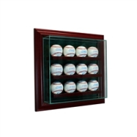 Premium 12 Baseball Cabinet Style Wall Mount Display Case with Cherry Wood Frame at PristineAuction.com