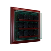 Premium 12 Hockey Puck Cabinet Style Wall Mount Display Case with Cherry Wood Frame at PristineAuction.com