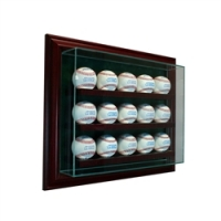 Premium 15 Baseball Cabinet Style Wall Mount Display Case with Cherry Wood Frame at PristineAuction.com