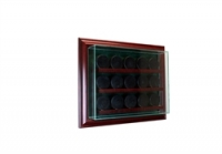 Premium 15 Hockey Puck Cabinet Style Wall Mount Display Case with Cherry Wood Frame at PristineAuction.com