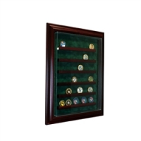 Premium 36 Coin Cabinet Style Wall Mount Display Case with Cherry Wood Frame at PristineAuction.com
