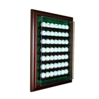 Premium 49 Golf Ball Cabinet Style Wall Mount Display Case with Cherry Wood Frame at PristineAuction.com