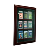 Premium 9 Graded Card Cabinet Style Wall Mount Display Case with Black Wood Frame at PristineAuction.com