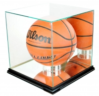 Premium Rectangle Full-Size Basketball Display Case with Mirrored Back & Black Wood Base at PristineAuction.com