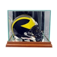 Premium Mini-Helmet Glass Display Case with Mirrored Walnut Wood Base & Mirrored Back at PristineAuction.com
