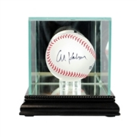 Premium Single Baseball Glass Display Case with Mirrored Black Wood Base & Mirrored Back at PristineAuction.com