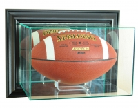 Wall Mounted Football Display Case with Mirrored Back & Black Wood Frame at PristineAuction.com