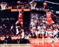 "Michael Jordan & Julius ""Dr. J"" Erving Dual Signed Limited Edition ""Slam Dunk"" 16x20 Photo (UDA COA) at PristineAuction.com"