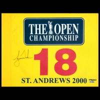 Tiger Woods Signed Limited Edition 2000 British Open Pin Flag (UDA COA) at PristineAuction.com