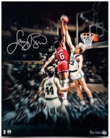 "Larry Bird Signed ""Blocking The Doctor"" 16x20 Photo (UDA COA) at PristineAuction.com"