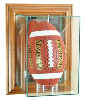 Wall Mounted Upright Football Display Case with Mirrored Back & Walnut Wood Frame at PristineAuction.com