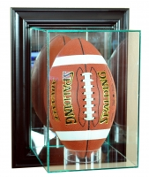 Wall Mounted Upright Football Display Case with Mirrored Back & Black Wood Frame at PristineAuction.com