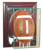 Wall Mounted Upright Football Display Case with Mirrored Back & Cherry Wood Frame at PristineAuction.com