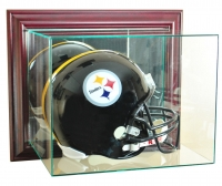 Wall Mounted Full-Size Football Helmet Display Case with Mirrored Back & Cherry Wood Frame at PristineAuction.com