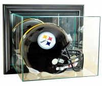 Wall Mounted Full-Size Football Helmet Display Case with Mirrored Back & Black Wood Frame at PristineAuction.com