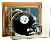 Wall Mounted Full-Size Football Helmet Display Case with Mirrored Back & Walnut Wood Frame at PristineAuction.com