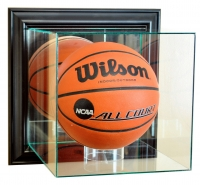 Wall Mounted Full-Size Basketball Display Case with Mirrored Back & Black Wood Frame at PristineAuction.com