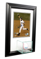 Wall Mounted Baseball with 8x10 Photo Display Case with Black Wood Frame at PristineAuction.com